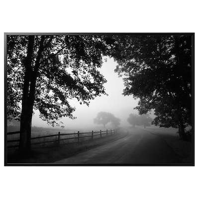 BJÖRKSTA Foto met lijst, mistige landweg/zwart, 200x140 cm