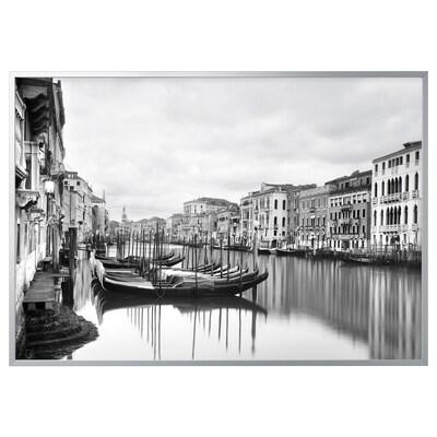 BJÖRKSTA foto met lijst Canal Grande/aluminiumkleur 140 cm 200 cm