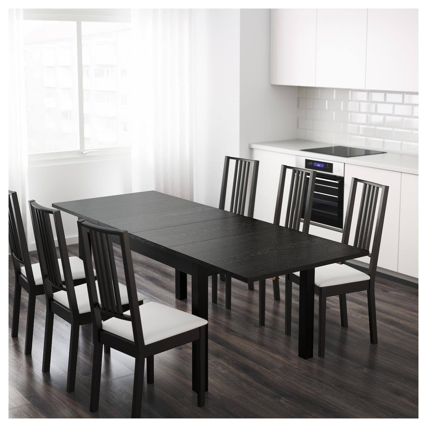 bjursta uitschuifbare tafel bruinzwart 140 180 220 x 84 cm. Black Bedroom Furniture Sets. Home Design Ideas