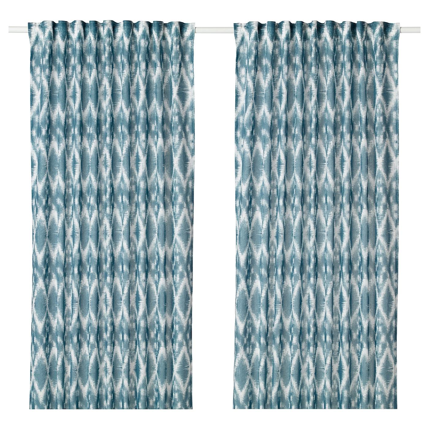 BLÅLILJA Gordijnen, 1 paar Wit/blauw 145 x 300 cm - IKEA