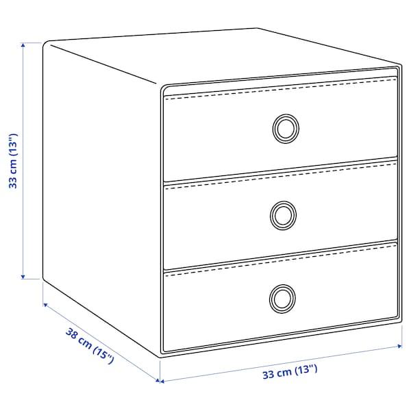 BLÄDDRA Miniladekast met 3 lades, grijs, 33x38 cm