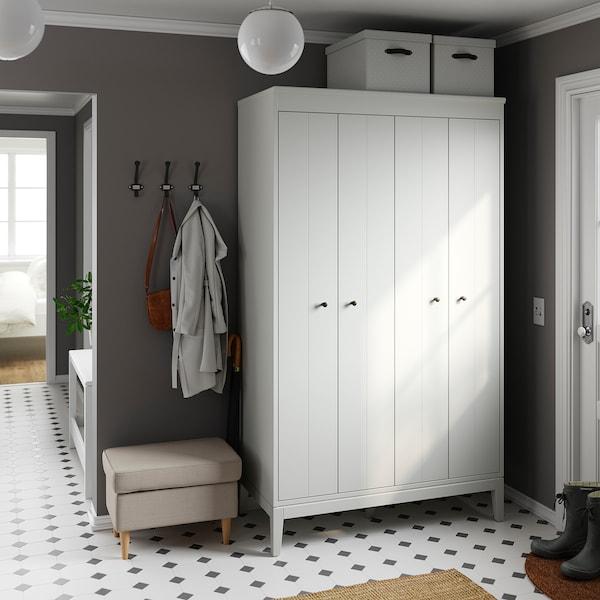 BLÄDDRARE Doos met deksel, grijs/met een patroon, 35x50x30 cm