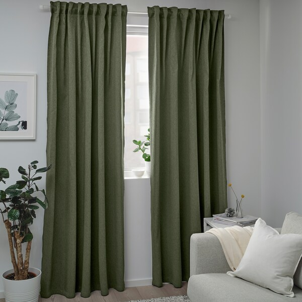 BLÅHUVA Verduisterende gordijnen, 1 paar, groen, 145x300 cm