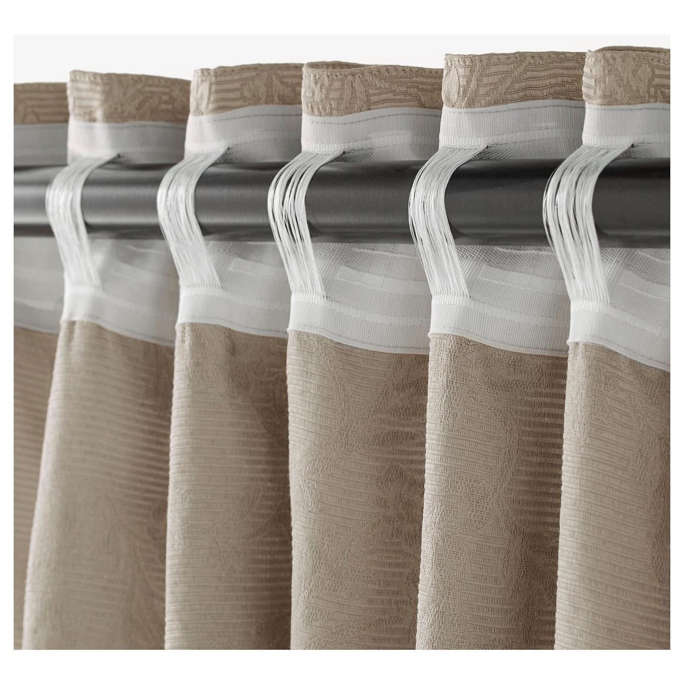 blekviva gordijnen met embrasse 1 paar beige 145x300 cm ikea. Black Bedroom Furniture Sets. Home Design Ideas