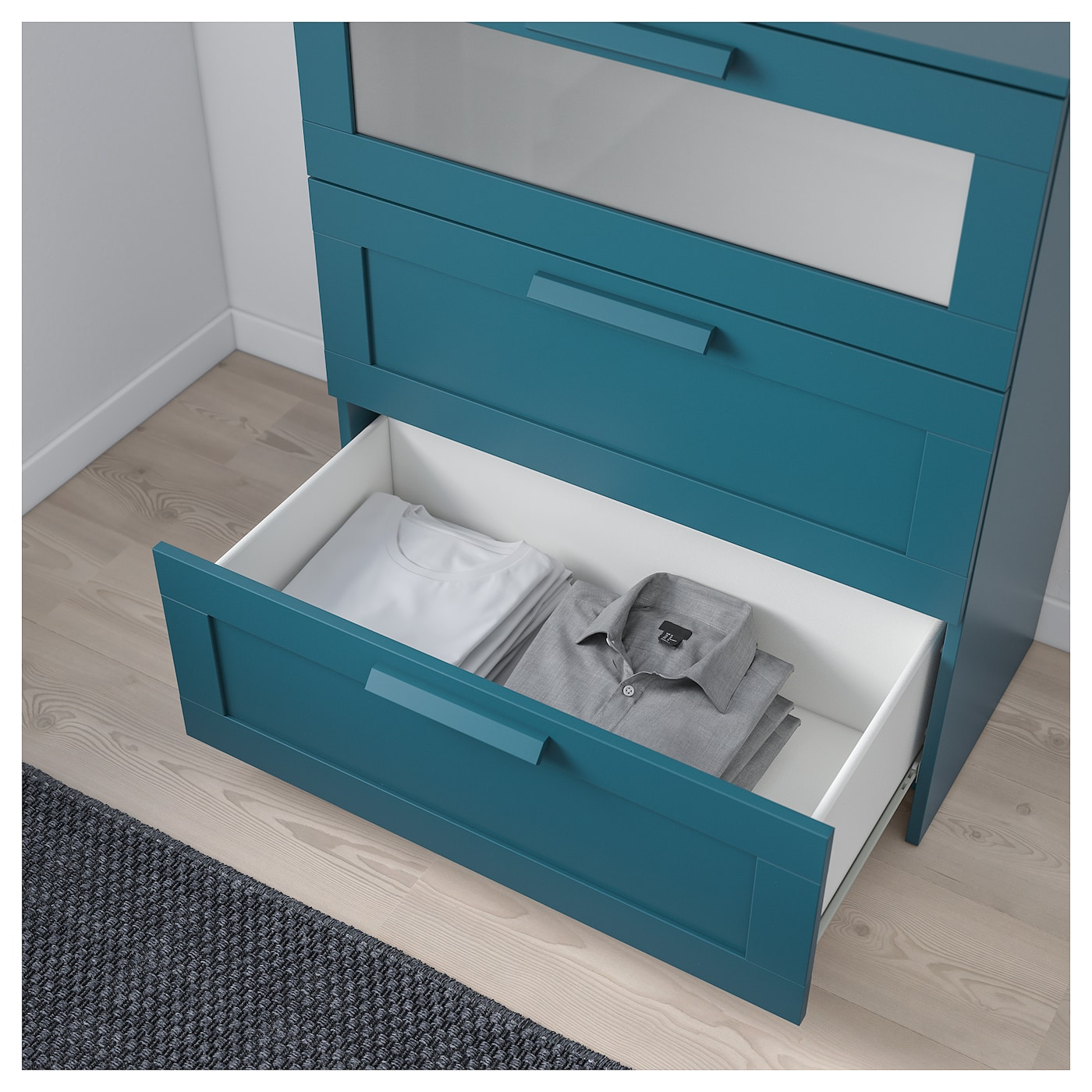 BRIMNES Ladekast 3 lades Donker groenblauw frosted glas 78×95 cm IKEA