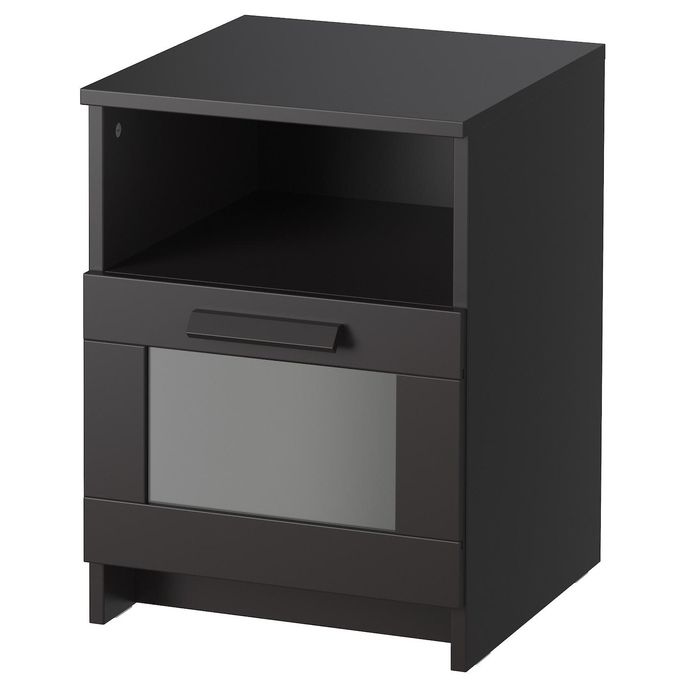 Brimnes nachtkastje zwart 39 x 41 cm ikea for Mesillas de noche 30 cm