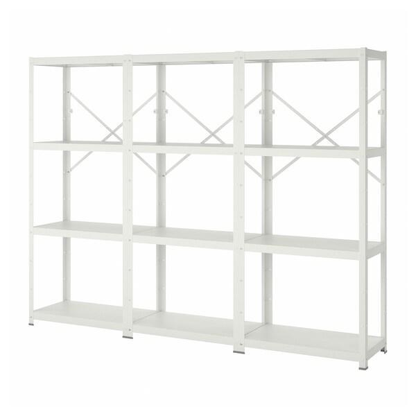 BROR 3 elementen/planken, wit, 254x40x190 cm