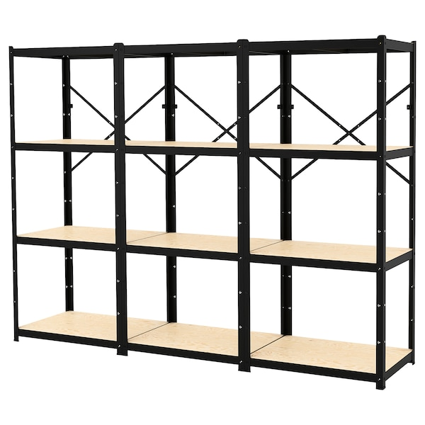 BROR Open kast, zwart/hout, 254x55x190 cm