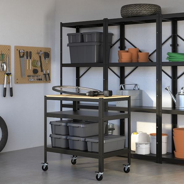 BROR Roltafel, zwart/grenen triplex, 85x55 cm