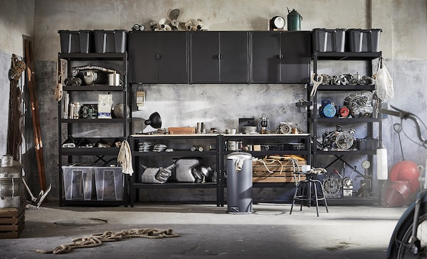 BROR Werkbank, zwart/grenen triplex, 110x55 cm