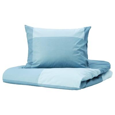 BRUNKRISSLA Dekbedovertrek en 2 kussenslopen, lichtblauw, 240x220/50x60 cm