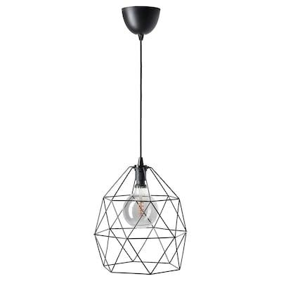 BRUNSTA / ROLLSBO Plafondlamp met lichtbron, zwart/globe grijs helder glas, 200 lumenx125 mm