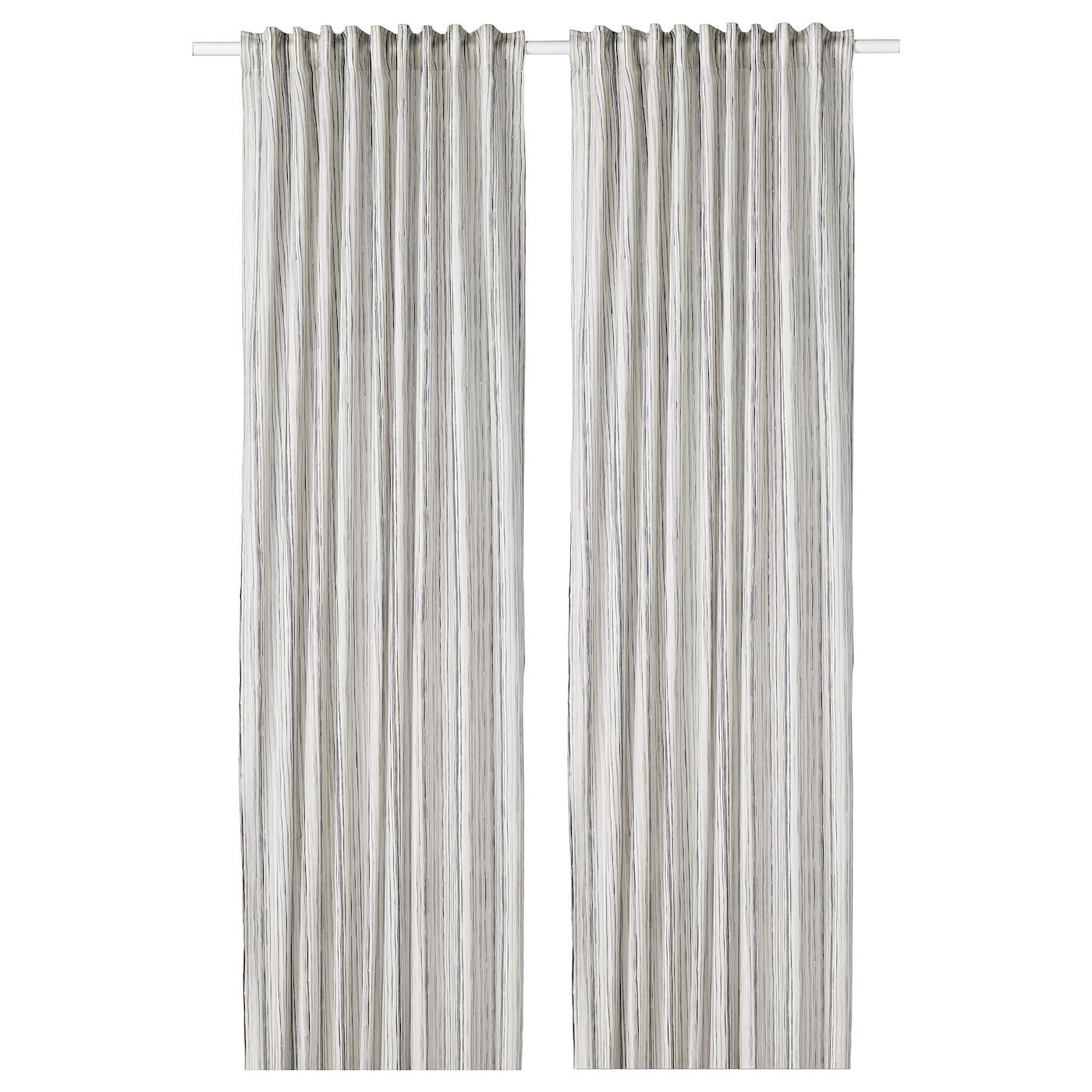DAGRUN Gordijnen, 1 paar Wit/grijs 145 x 300 cm - IKEA