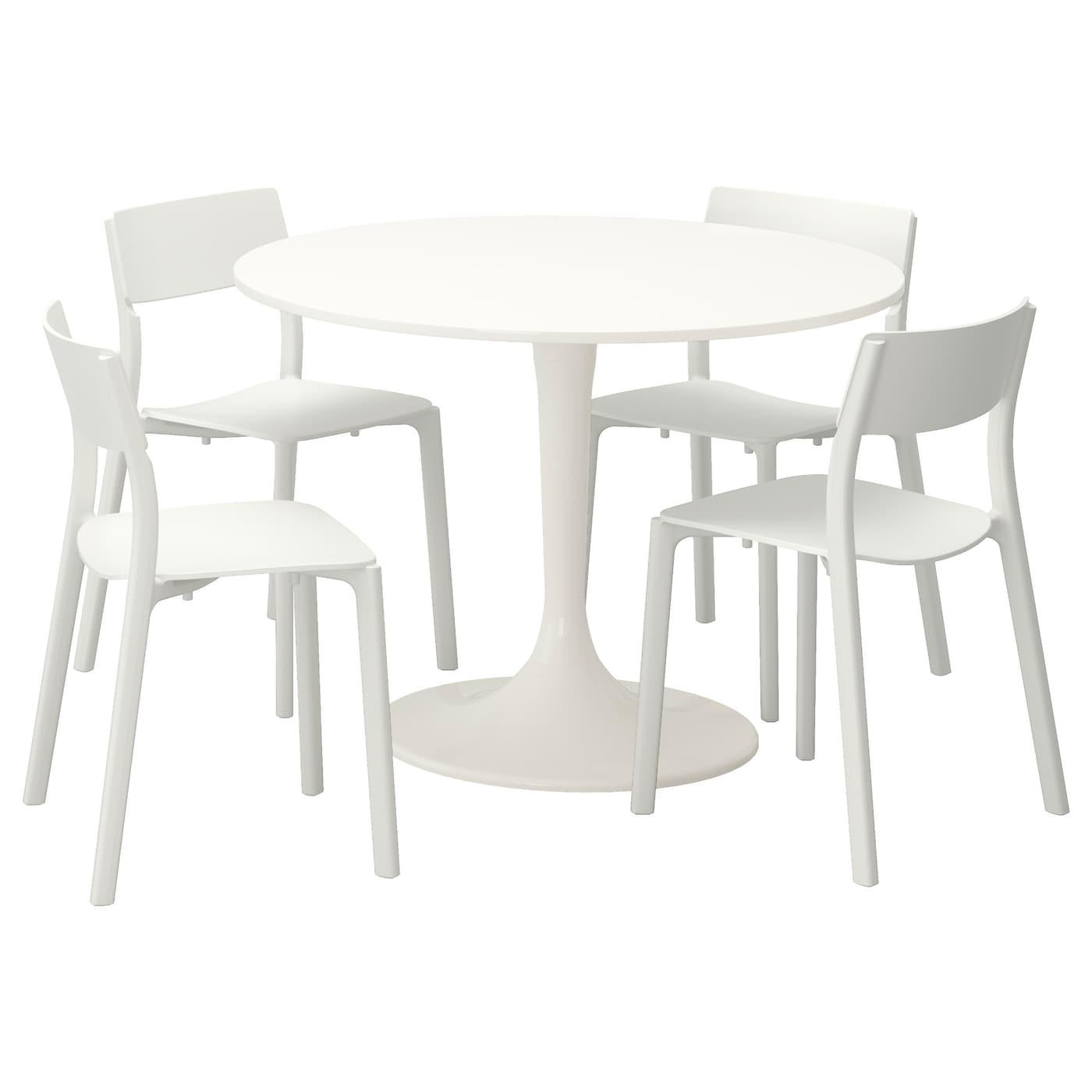 Docksta janinge tafel en 4 stoelen wit wit 105 cm ikea for Ikea kinderstoel en tafel