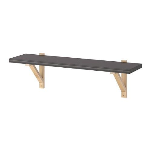 Wandplank 80 Cm.Ekby Valter Bergshult Wandplank Donkergrijs Berken 80 X 22 Cm Ikea