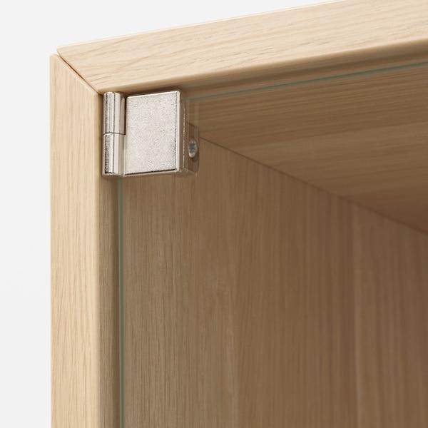 EKET Bovenkast met vitrinedeur, wit gelazuurd eikeneffect, 35x35x35 cm