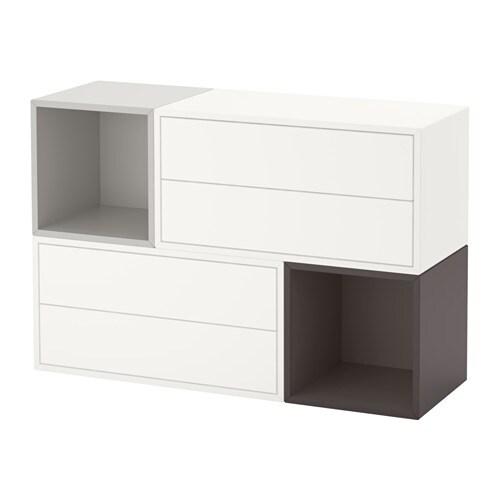 eket kastencombinatie voor wandmontage wit lichtgrijs donkergrijs ikea. Black Bedroom Furniture Sets. Home Design Ideas