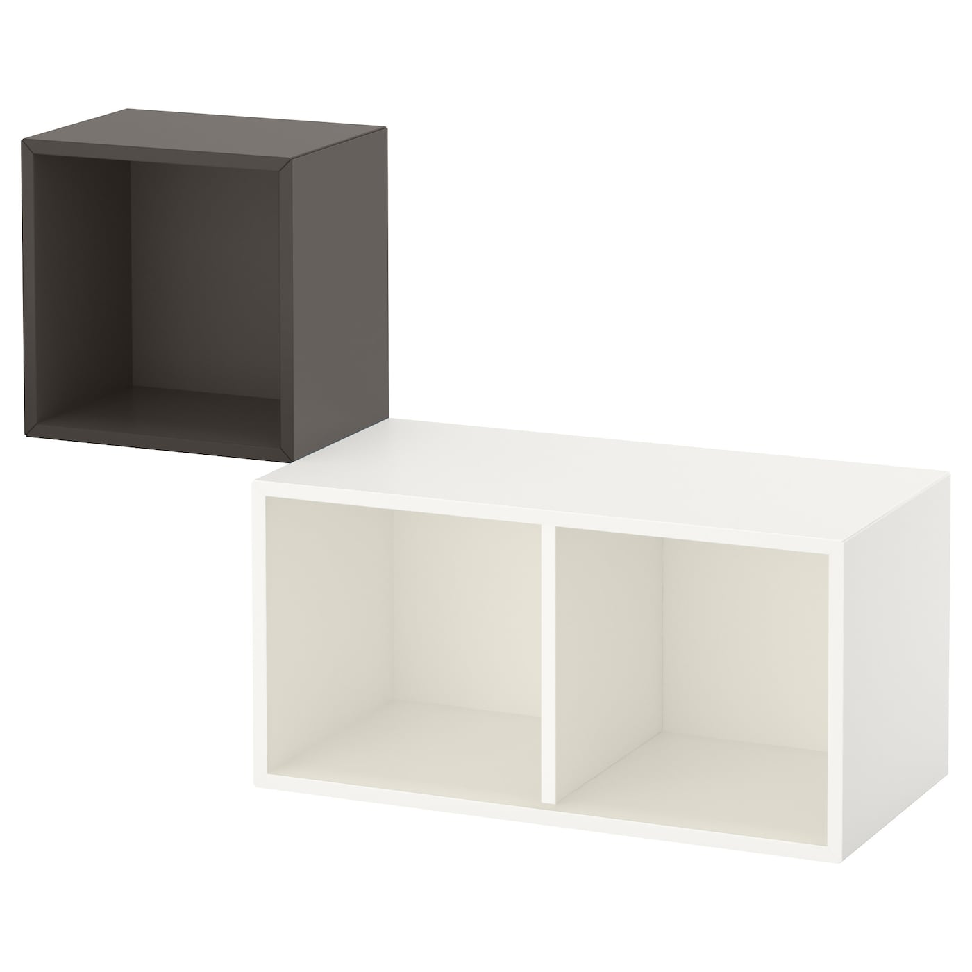 eket kastencombinatie voor wandmontage donkergrijs wit. Black Bedroom Furniture Sets. Home Design Ideas