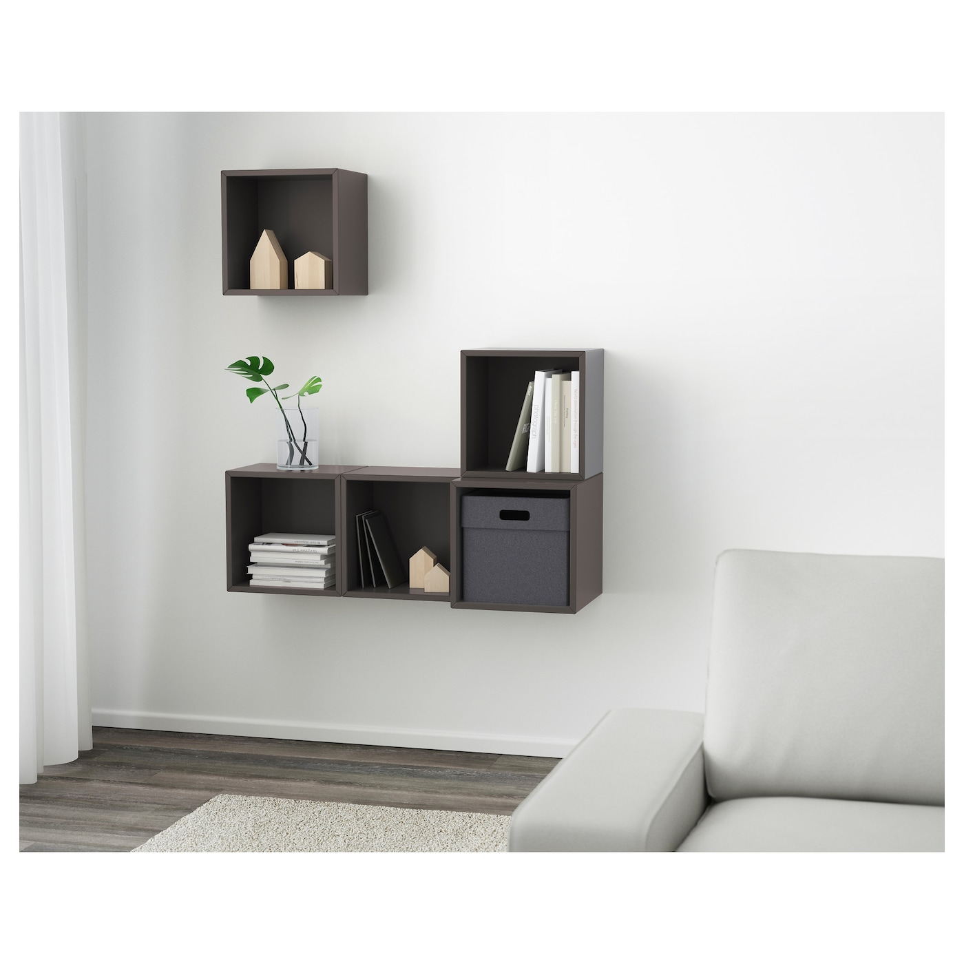 eket kastencombinatie voor wandmontage donkergrijs 105 x 35 x 120 cm ikea. Black Bedroom Furniture Sets. Home Design Ideas