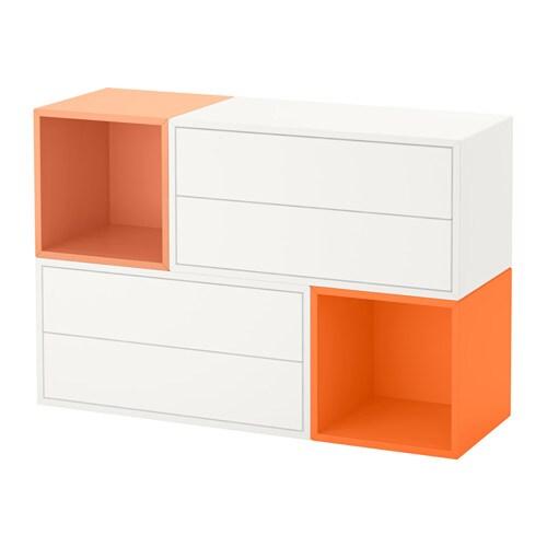 eket kastencombinatie voor wandmontage wit oranje lichtoranje ikea. Black Bedroom Furniture Sets. Home Design Ideas
