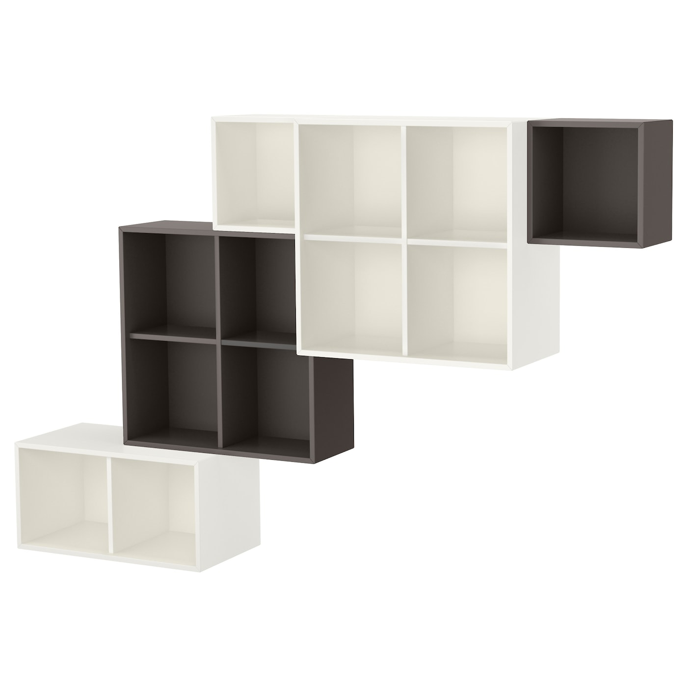 eket kastencombinatie voor wandmontage wit donkergrijs 210 x 35 x 140 cm ikea. Black Bedroom Furniture Sets. Home Design Ideas