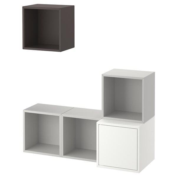 EKET Kastencombinatie voor wandmontage, wit/lichtgrijs/donkergrijs, 105x35x120 cm