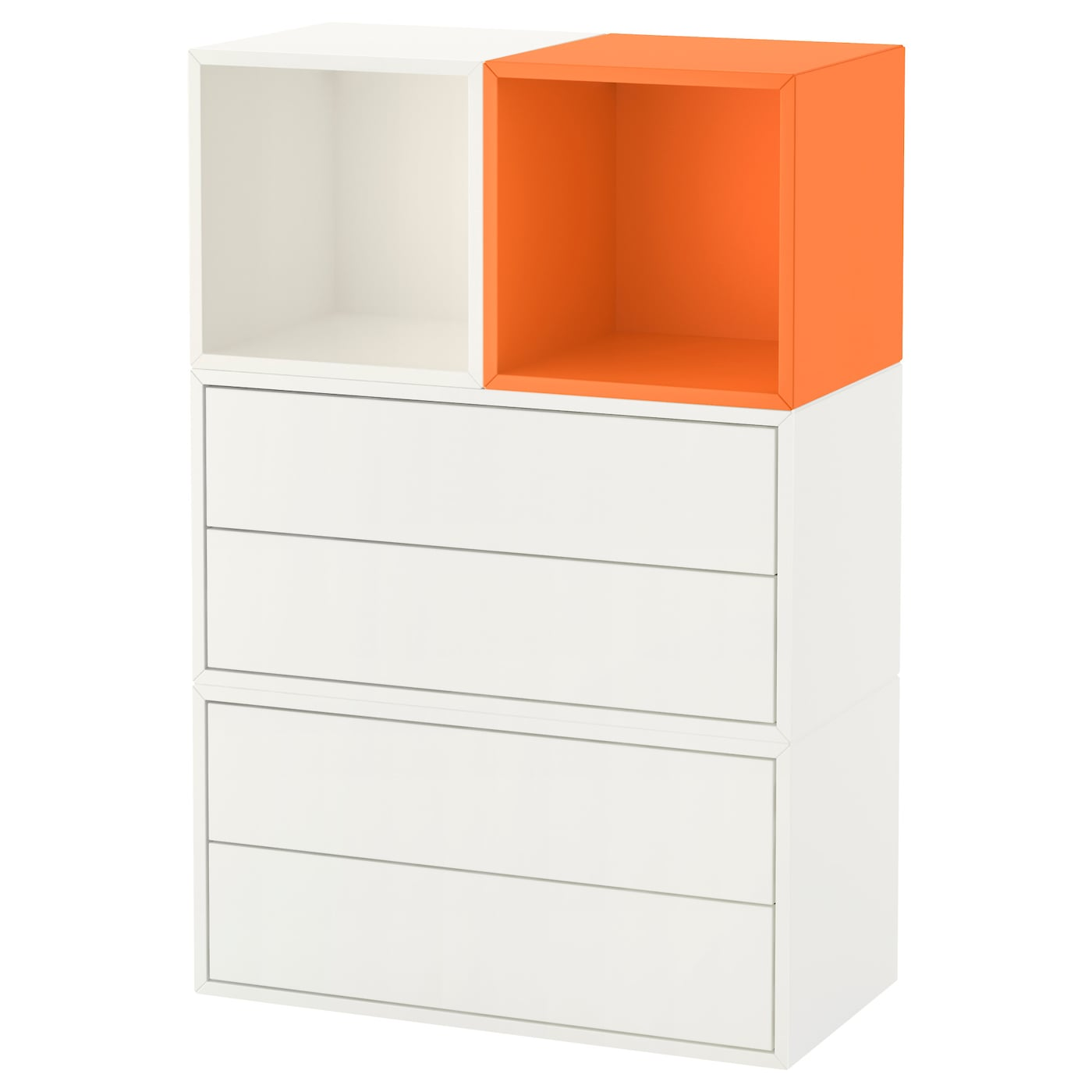 eket kastencombinatie voor wandmontage wit oranje. Black Bedroom Furniture Sets. Home Design Ideas