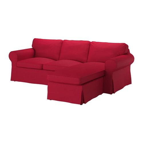 Ektorp hoes 2 zitsbank met chaise longue nordvalla rood for 2 zitsbank met chaise longue