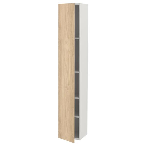 Enhet Hoge Kast M 4 Planken Deur Wit Eikenpatroon Ikea