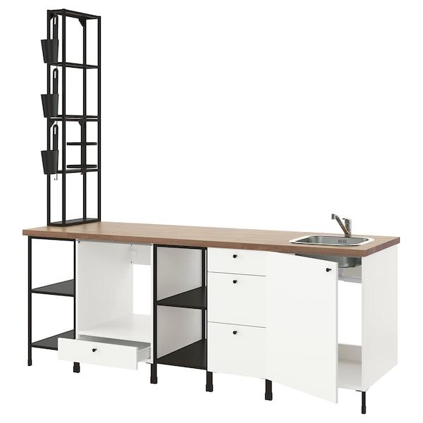 ENHET Keuken, antraciet/wit, 243x63.5x241 cm