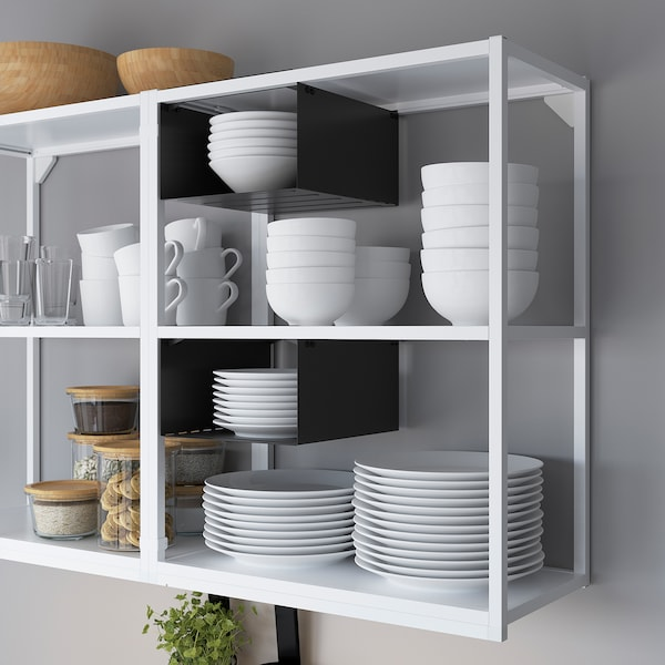 ENHET Keuken, wit/betonpatroon, 203x63.5x222 cm