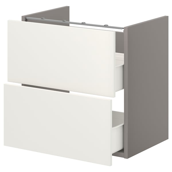 ENHET Onderkast voor wastafel met 2 lades, grijs/wit, 60x42x60 cm