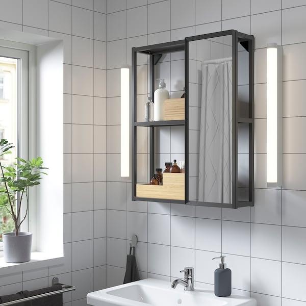 ENHET Spiegelkast, antraciet, 60x17x75 cm