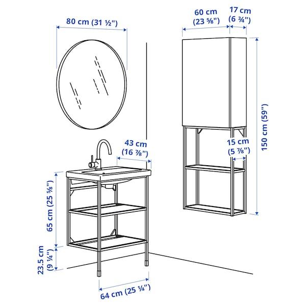 ENHET / TVÄLLEN Badkamermeubels, 13-delig, roodoranje/wit GLYPEN kraan, 64x43x87 cm