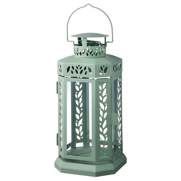 ENRUM Windlicht stompkaars, binnen/buiten, groen, 28 cm