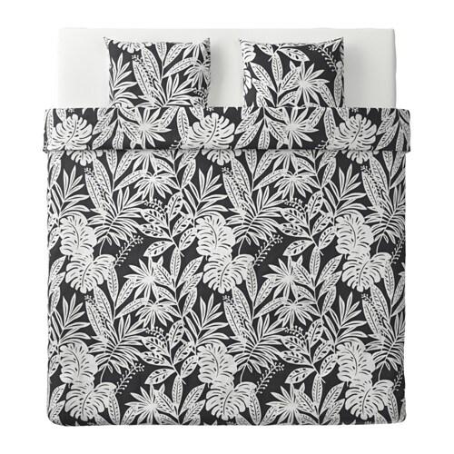 fagerginst dekbedovertrek met 2 slopen grijs wit 240x220 50x60 cm ikea. Black Bedroom Furniture Sets. Home Design Ideas