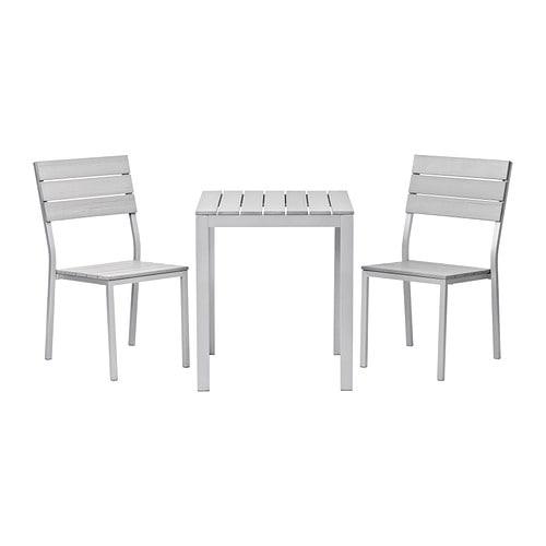 FALSTER Tafel+2 stoelen, buiten   grijs   IKEA