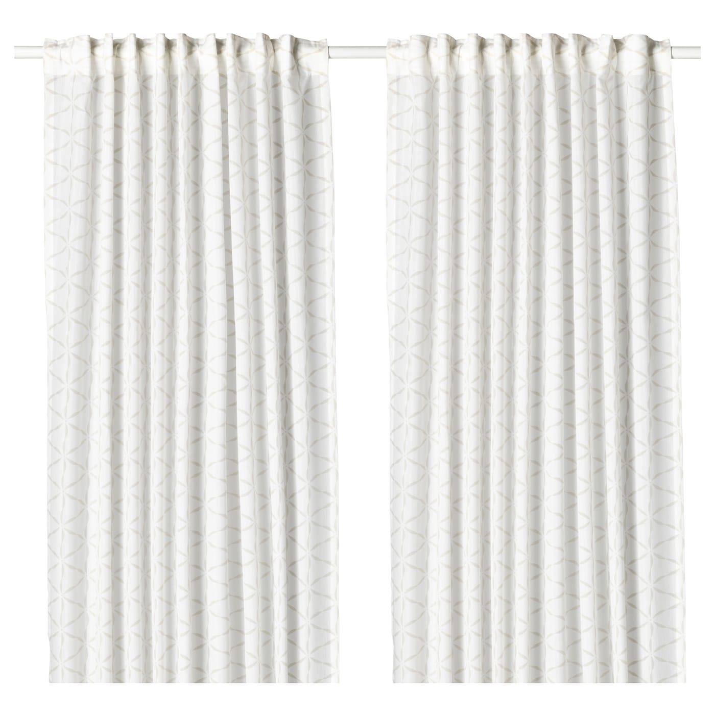 FJÄLLBINKA Gordijnen, 1 paar Wit/lichtbeige 145 x 300 cm - IKEA