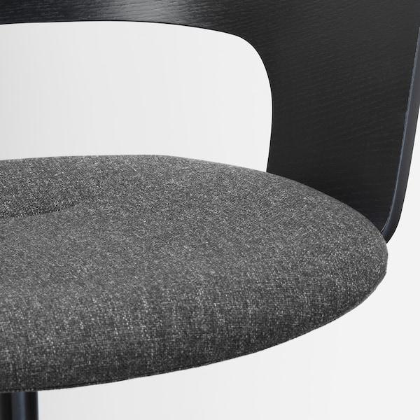 FJÄLLBERGET Bureaustoel met wielen, zwart gebeitst essenfineer/Gunnared donkergrijs