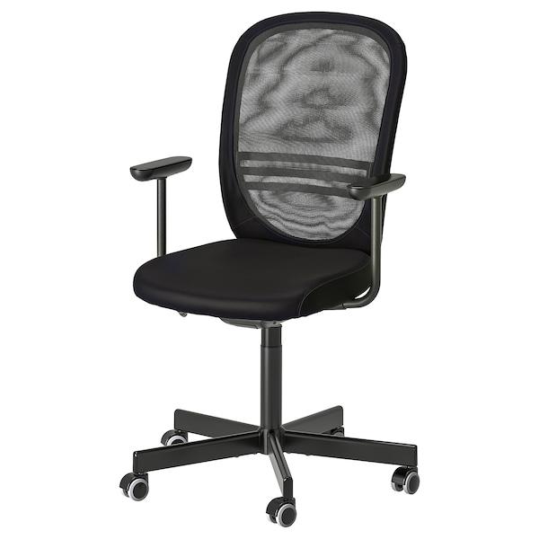 FLINTAN Bureaustoel met armleuningen, zwart