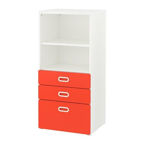 FRITIDS/STUVA Boekenkast met lades Wit/rood 60 x 50 x 128 cm - IKEA