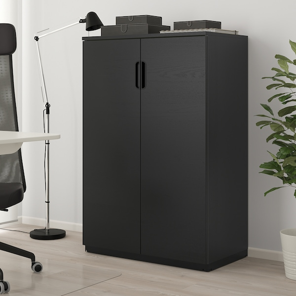 Galant Kast Met Deuren Zwart Gebeitst Essenfineer 80x120 Cm Ikea