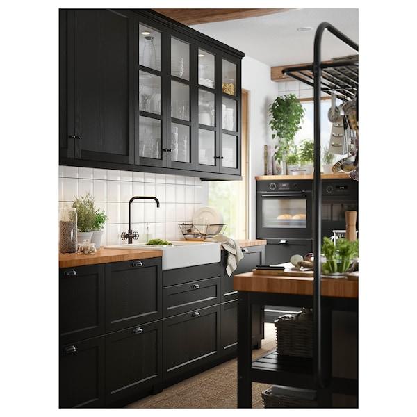 GAMLESJÖN Keukenmengkraan tweegreeps, geborsteld zwart metaal