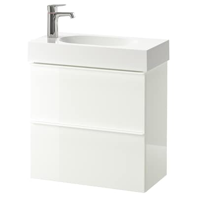 GODMORGON / BRÅVIKEN kast voor wastafel met 2 lades hoogglans wit/BROGRUND kraan 62 cm 60 cm 33 cm 68 cm