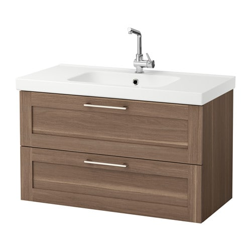 godmorgon odensvik kast voor wastafel met 2 lades walnootpatroon ikea. Black Bedroom Furniture Sets. Home Design Ideas