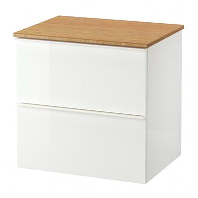 GODMORGON / TOLKEN Kast voor wastafel met 2 lades, hoogglans wit/bamboe, 62x49x60 cm