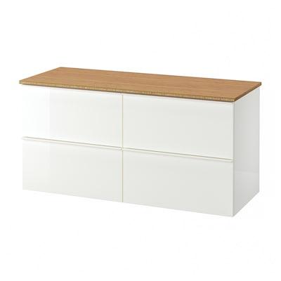 GODMORGON / TOLKEN Kast voor wastafel met 4 lades, hoogglans wit/bamboe, 122x49x60 cm