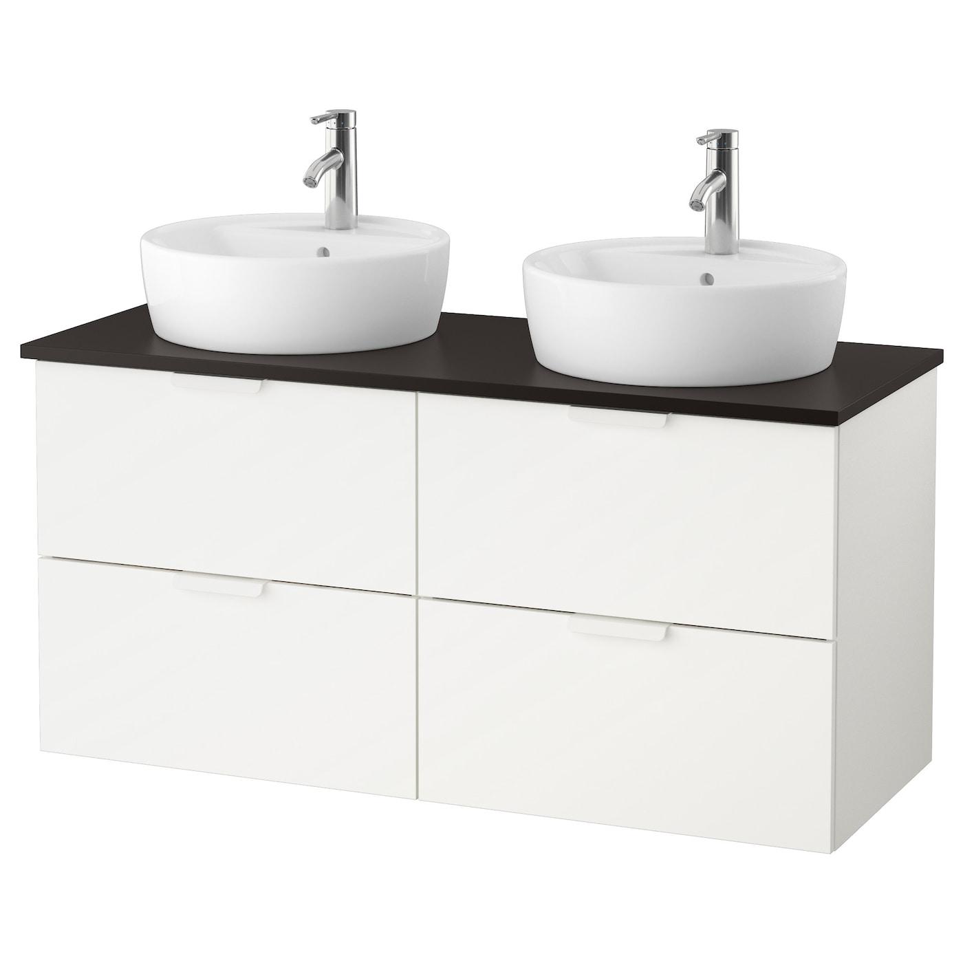 godmorgon tolken t rnviken wastafelcombinatie 45 v bovenblad wit antraciet 122x49x74 cm ikea. Black Bedroom Furniture Sets. Home Design Ideas