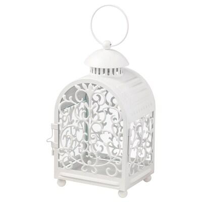 GOTTGÖRA Lantaarn v theelichtje metalen cup, binnen/buiten wit, 26 cm
