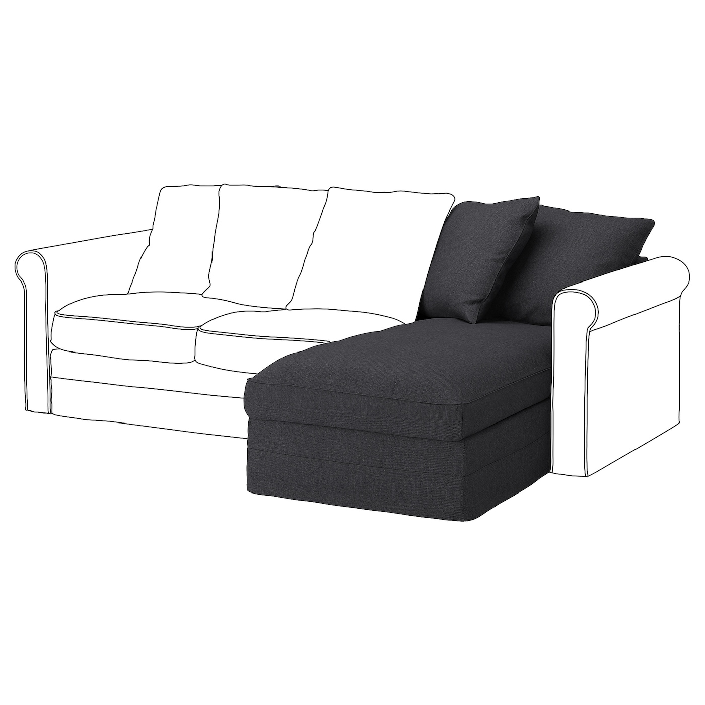 IKEA GRÖNLID hoes voor chaise longue-element